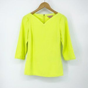 Ted Baker : Neon Yellow 3/4 Sleeve Blouse XXS